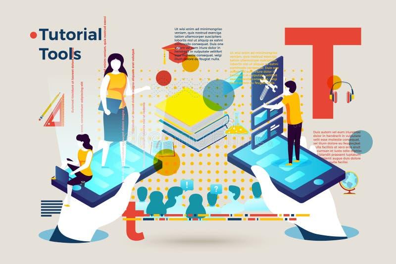 Vectorbrievent mensen die de hulpmiddelen van een privé-leraar online met behulp van stock illustratie