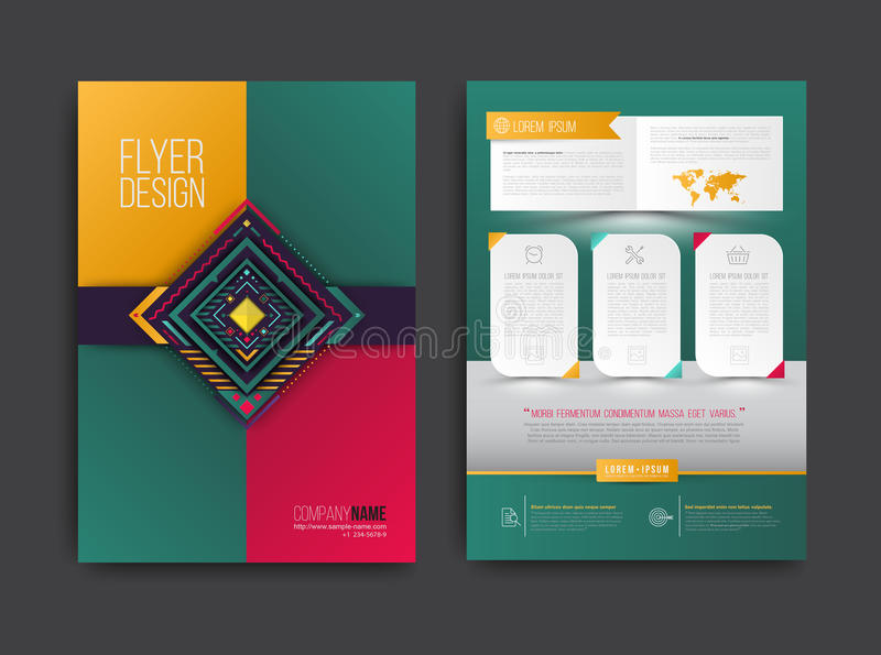 Vectorbrochure, vlieger, tijdschriftdekking en affichemalplaatje vector illustratie