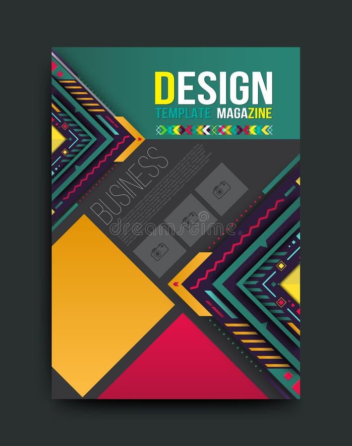 Vectorbrochure, vlieger, tijdschriftdekking en affichemalplaatje royalty-vrije illustratie