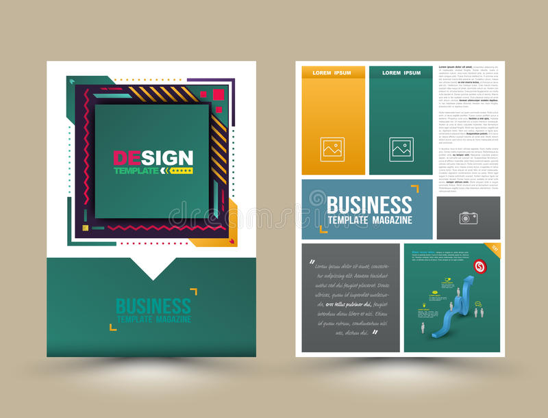Vectorbrochure, vlieger, tijdschriftdekking en affichemalplaatje stock illustratie