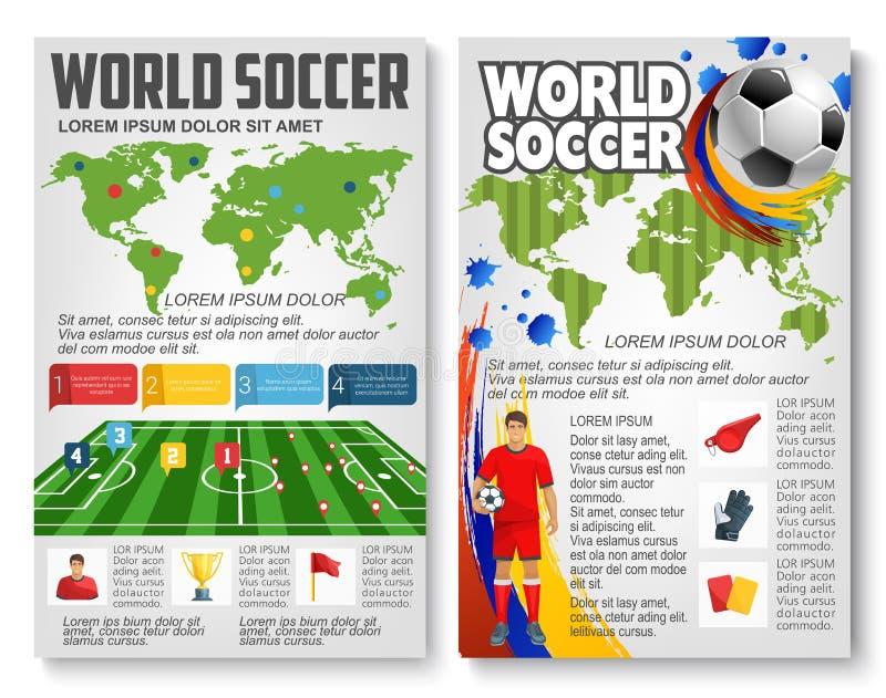 Vectorbrochure voor de voetbalspel van het wereldvoetbal stock illustratie