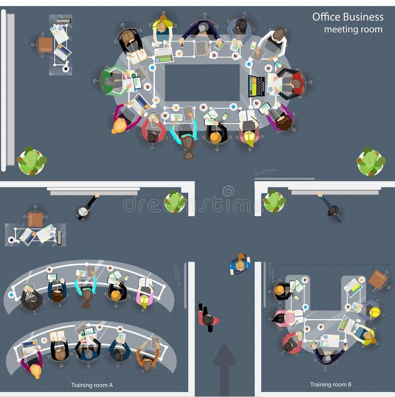 Vectorbureau bedrijfsvergaderzalen die ruimte en bedrijfsbrainstormings en planbureauontwerp opleiden stock illustratie