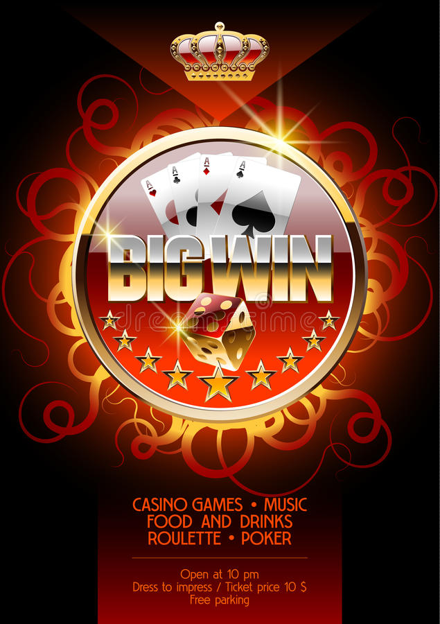 Vectorburning poster template for night casino party vector illustration