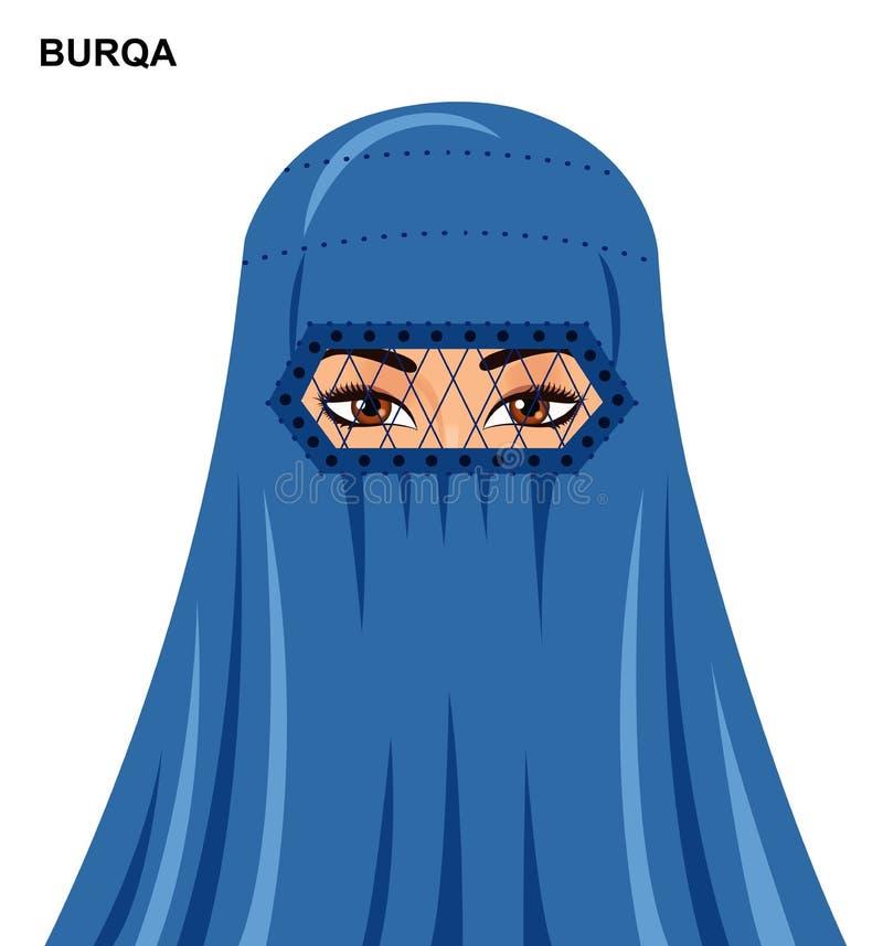 Vectorburqastijl, mooie Arabische moslimvrouw in Zieke burqa - vector illustratie