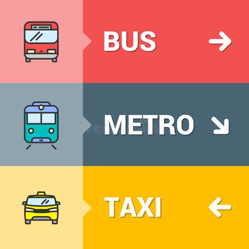 Vectorbus, metro, het concept van taxitekens met de pictogrammen van het kleurenoverzicht royalty-vrije illustratie