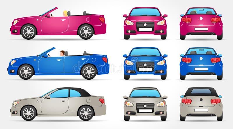 Vectorcabriolet - Profiel - Voorzijde - Achtermening stock illustratie