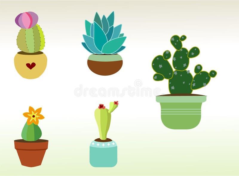 Vectorcactus en Succulente Kunst voor de Bladen van de Ontwerperssticker en meer stock afbeelding