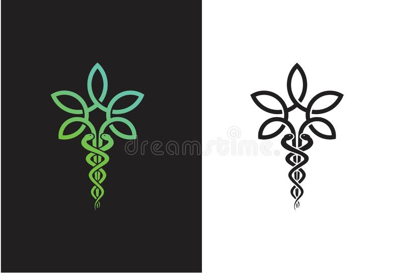 Vectorcannabisblad Logo Design vector illustratie