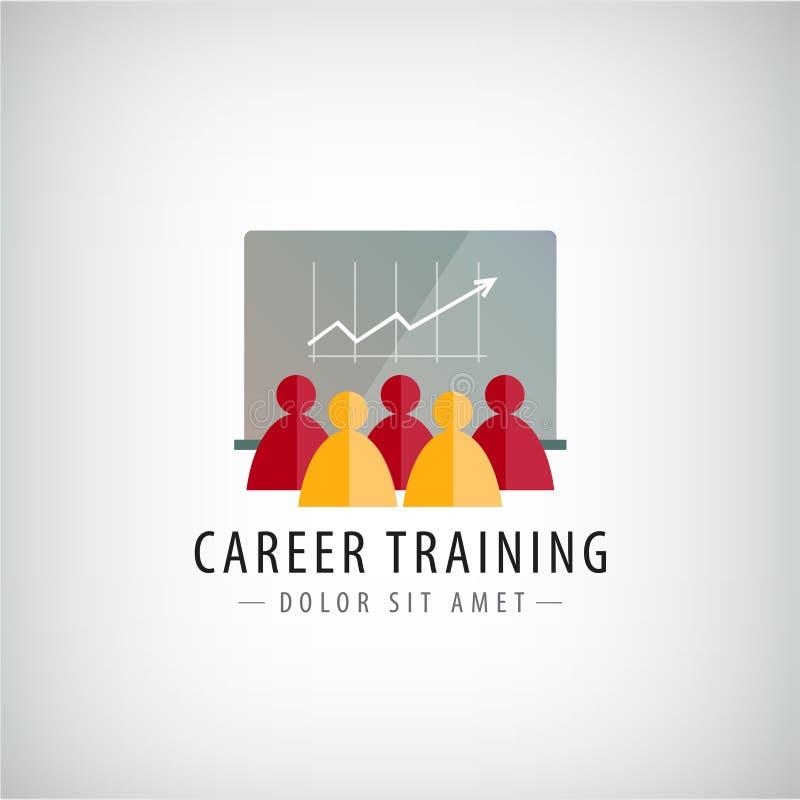 Vectorcarrière opleiding, commerciële vergadering, groepswerkembleem, illustratie stock illustratie