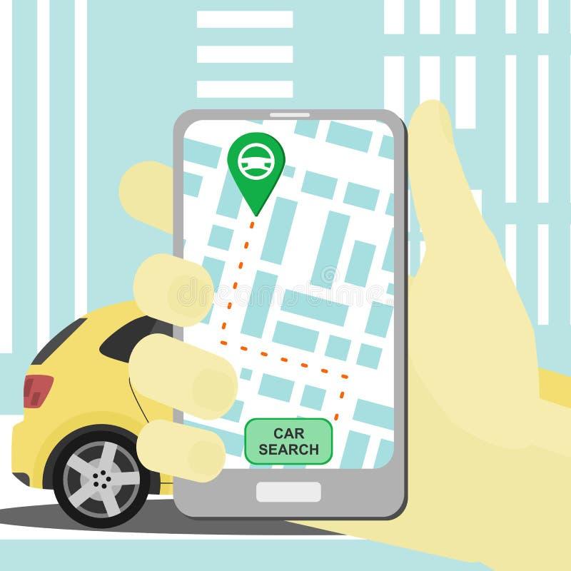 Vectorcarsharingsconcept met smartphone en auto die app delen vector illustratie