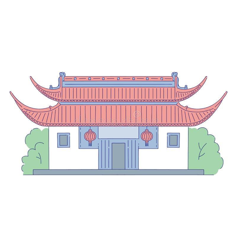 Vectorchinees die architecturaal oriëntatiepunt met flitslicht bouwen bij de deur De oosterse traditionele kunst van de architect royalty-vrije illustratie