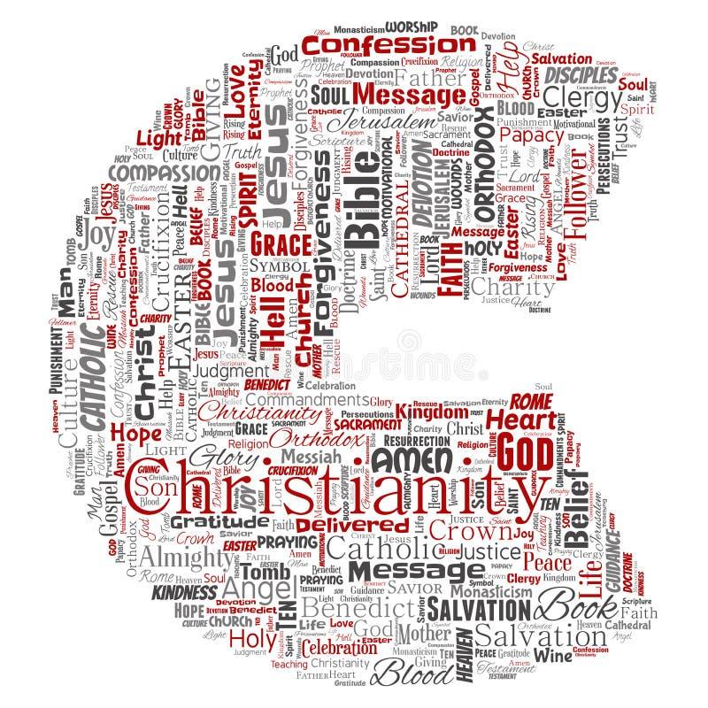 Vectorchristendom, Jesus, bijbel, de doopvont C van de testamentbrief vector illustratie