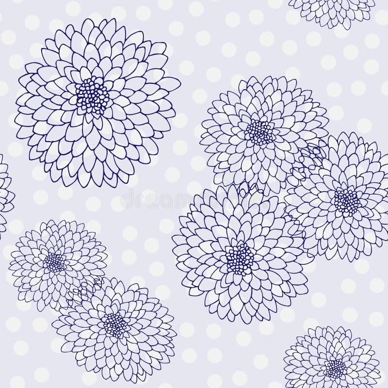 Vectorchrysant Naadloos patroon van gouden-madeliefjebloemen Zwart-wit malplaatje voor bloemendecoratie, stoffenontwerp, vector illustratie