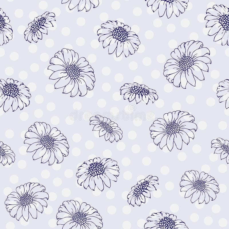 Vectorchrysant Naadloos patroon van gouden-madeliefjebloemen Zwart-wit malplaatje voor bloemendecoratie, stoffenontwerp, stock illustratie