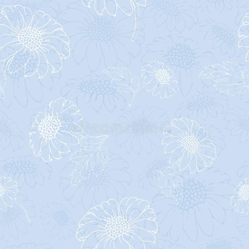 Vectorchrysant Naadloos patroon van gouden-madeliefjebloemen Zwart-wit malplaatje voor bloemendecoratie, stoffenontwerp, royalty-vrije illustratie