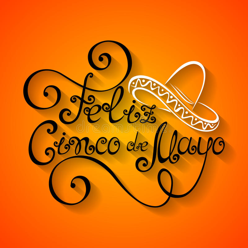 Vectorcinco de mayo inscription met Sombrero stock illustratie