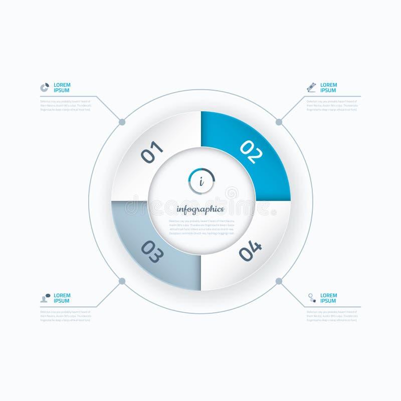 Vectorcirkel bedrijfsstappenconcept Infographic royalty-vrije illustratie