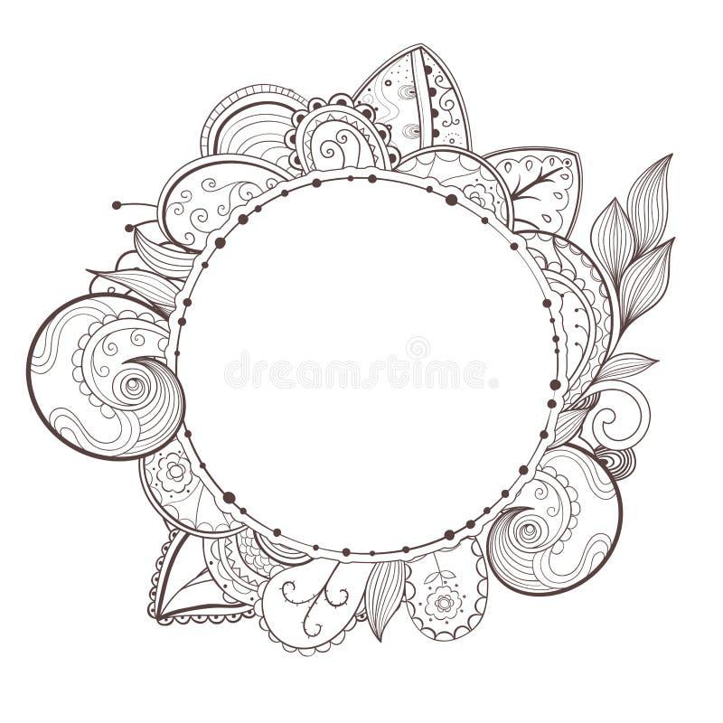 Vectorcirkel bloemenkader stock illustratie