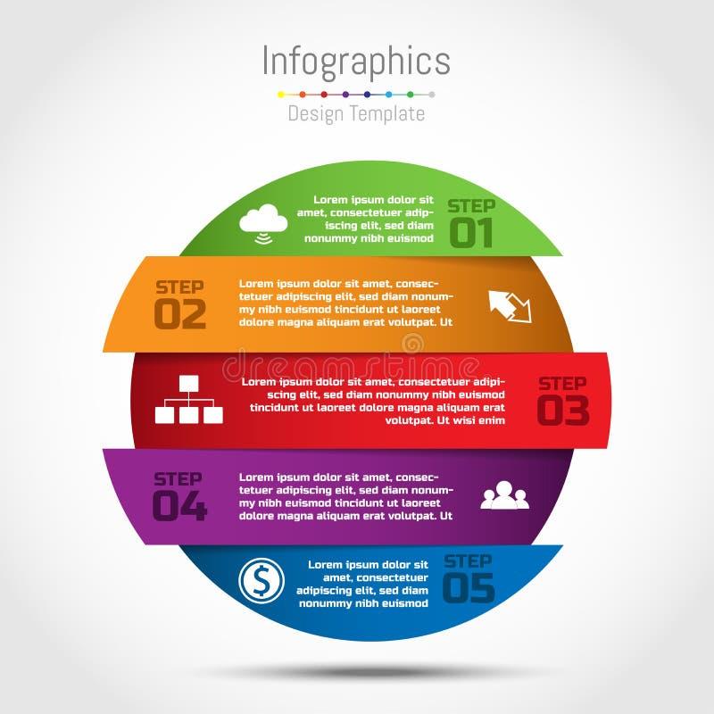Vectorcirkel infographic malplaatje voor diagram, grafiek, presentat vector illustratie