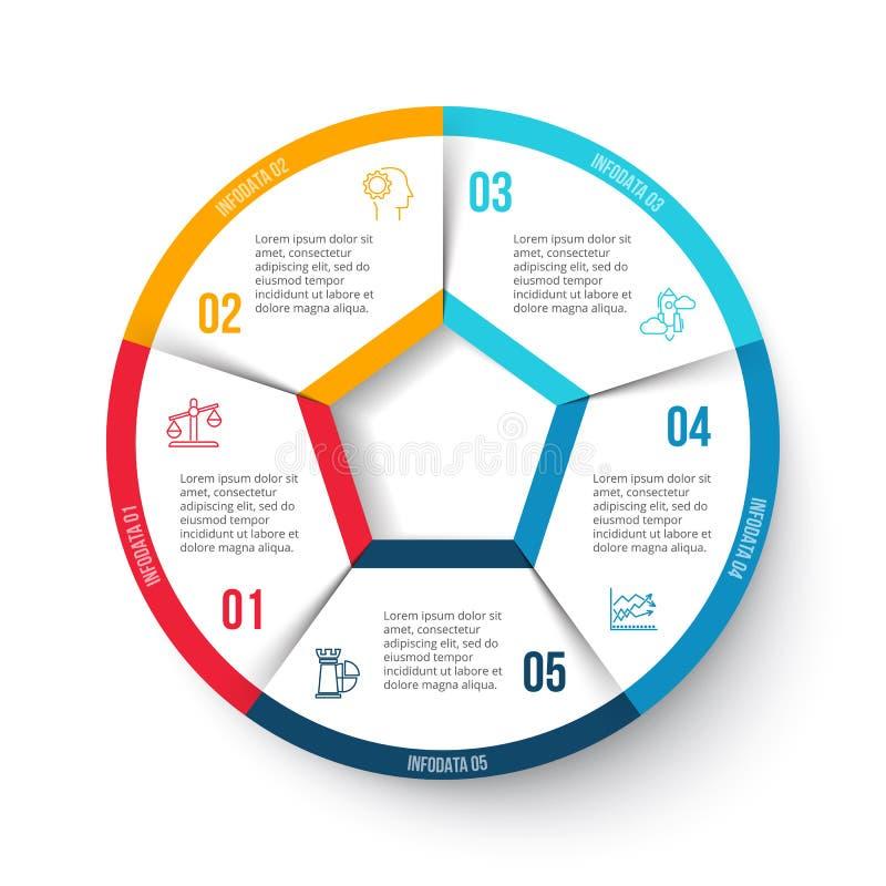 Vectorcirkel infographic met 5 opties royalty-vrije illustratie