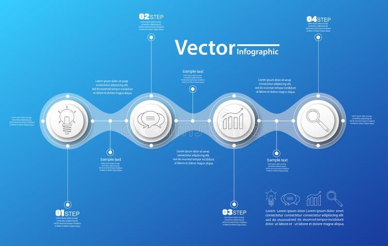 Vectorcirkel infographic op blauwe backgraund Malplaatje voor diagram, grafiek, presentatie en grafiek Bedrijfsconcept, delen, st royalty-vrije stock foto