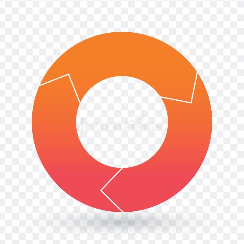 Vectorcirkeldiagrammalplaatje voor grafieken, grafieken, diagrammen Zakenkrings infographic concept met 3 opties, delen, stappen, royalty-vrije illustratie