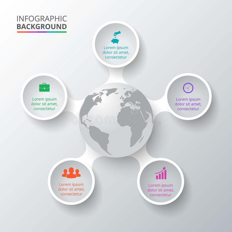 Vectorcirkelelementen met aarde voor infographic royalty-vrije illustratie