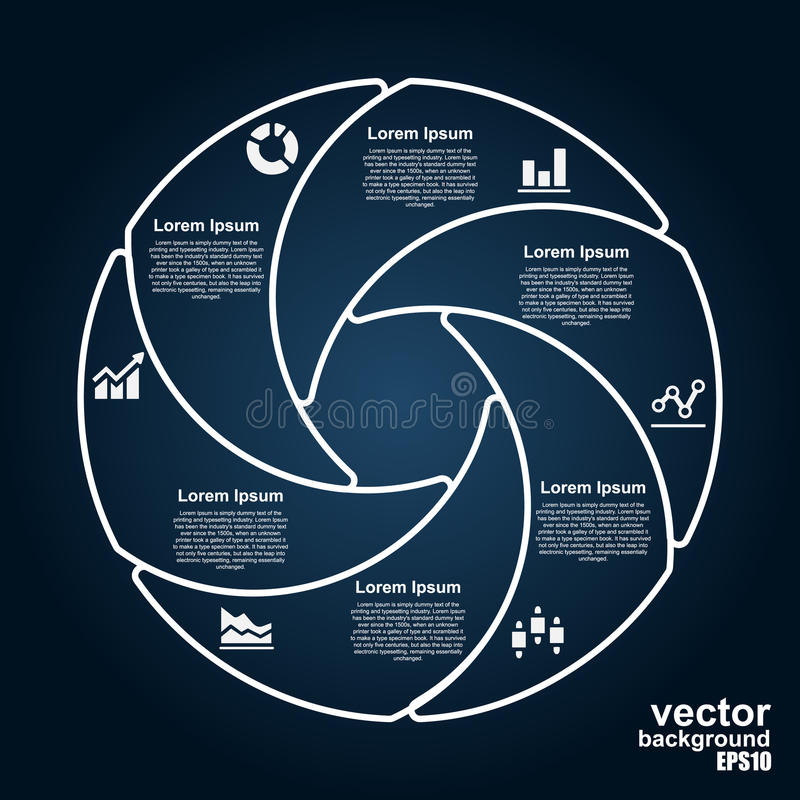 Vectorcirkelinfographics Malplaatje voor diagram vector illustratie