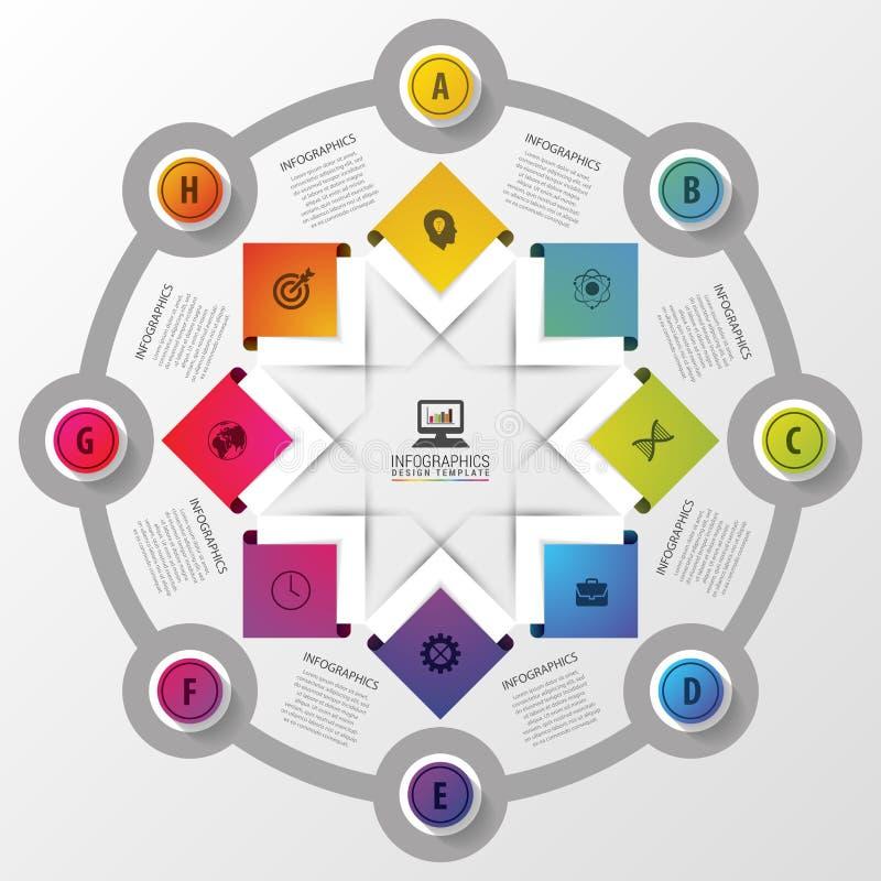Vectorcirkelinfographics met pictogrammen Malplaatje voor presentatie Diagramconcept met 8 delen royalty-vrije illustratie
