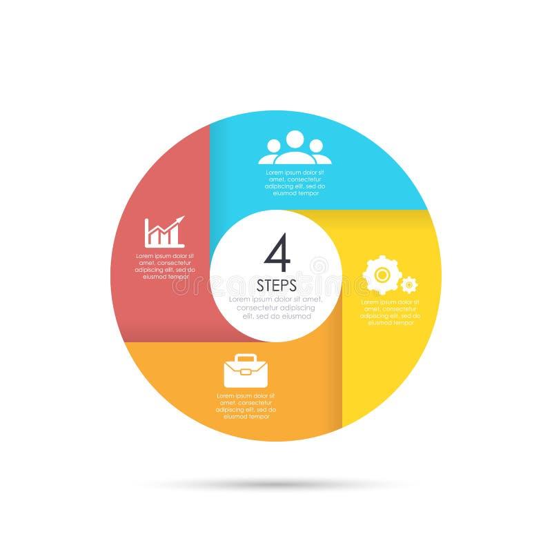 Vectorcirkelmalplaatje voor infographics royalty-vrije illustratie