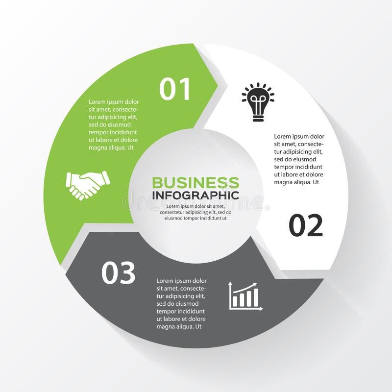 Vectorcirkelpijlen voor infographic, diagram stock illustratie
