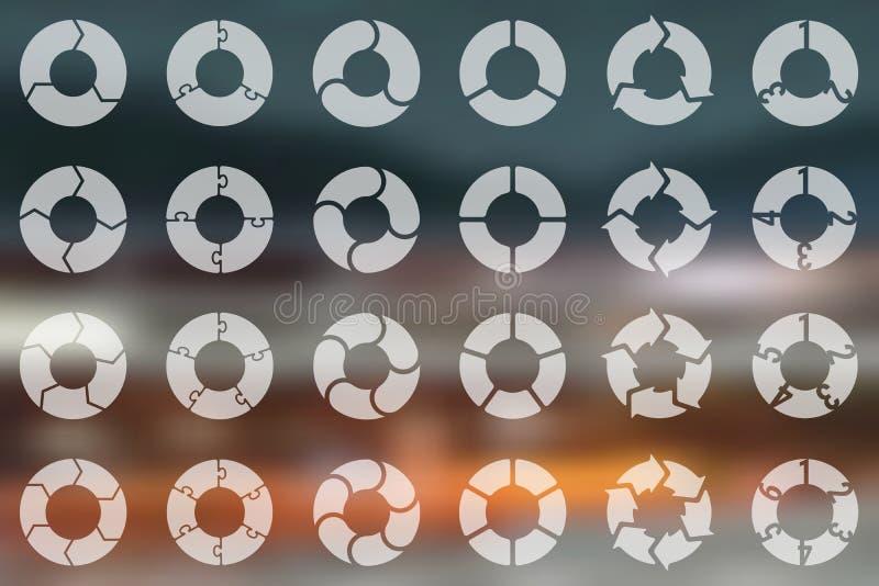 Vectorcirkelpijlen voor infographic, diagram, grafiek, presentatie, grafiek Conjunctuurcyclusconcept met 3, 4, 5, 6 vector illustratie