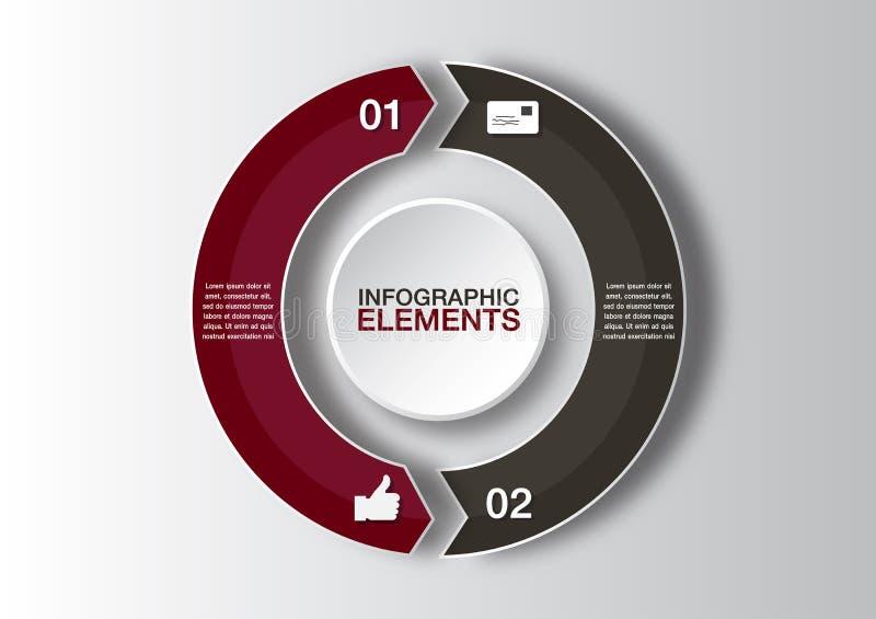 Vectorcirkelpijlen voor infographic Malplaatje voor diagram, grafiek, presentatie en grafiek Bedrijfsconcept met 2 opties royalty-vrije illustratie