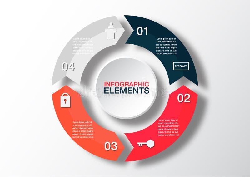 Vectorcirkelpijlen voor infographic Malplaatje voor diagram, grap vector illustratie