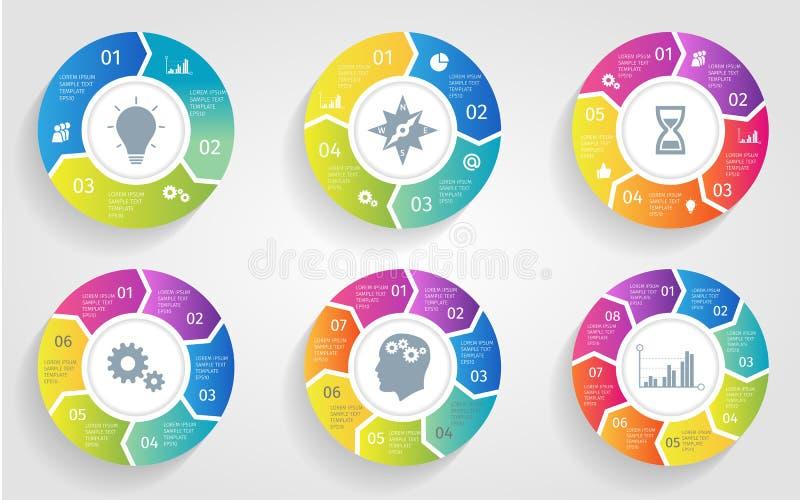 Vectorcirkelpijlen voor infographic Malplaatje voor het cirkelen van diagram, grafiek, presentatie en ronde grafiek Zaken vector illustratie