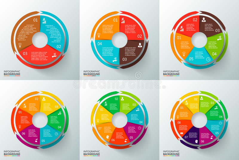 Vectorcirkels met pijlen voor infographic royalty-vrije stock foto