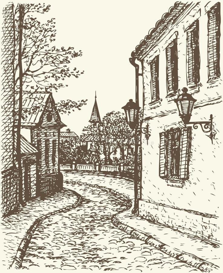 Vectorcityscape. Smalle straat van oude stad stock illustratie