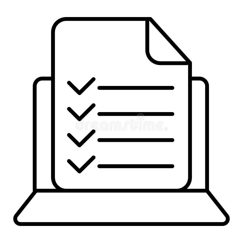 Vectorcomputer en controlelijstpictogram Het online onderzoek, aanvraagformulier met vinkjes, taken maakt een lijst van Modern li royalty-vrije illustratie