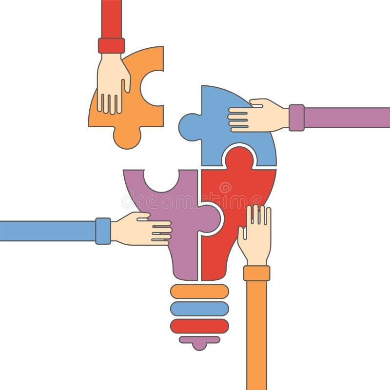 Vectorconcept creatief groepswerk in vlakke overzichtsstijl vector illustratie