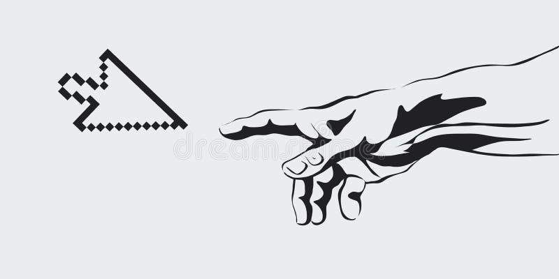 Vectorconcept de oprichting van Internet, mededeling, verwezenlijking van virtuele werkelijkheid, menselijke hand, hand vector illustratie
