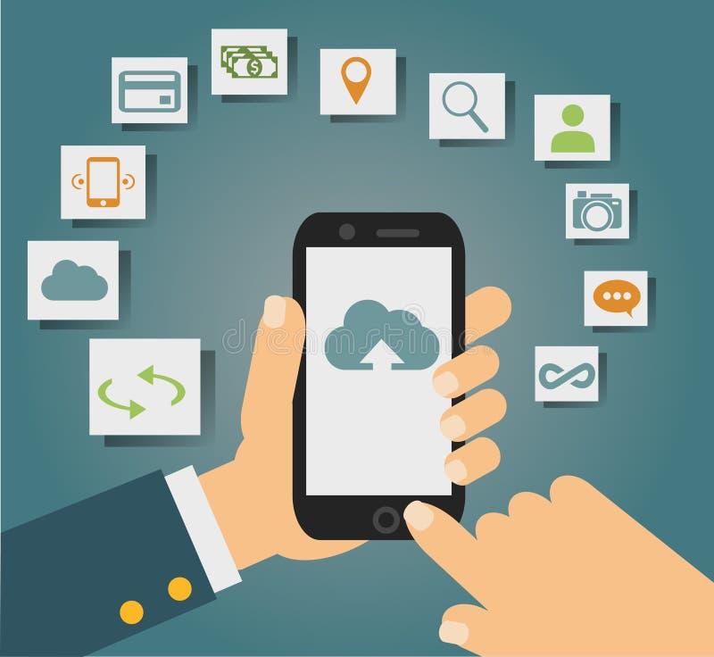 Vectorconcept de wolkendiensten op mobiele telefoon zoals opslag, gegevensverwerking, onderzoek, fotoalbum, gegevensuitwisseling vector illustratie