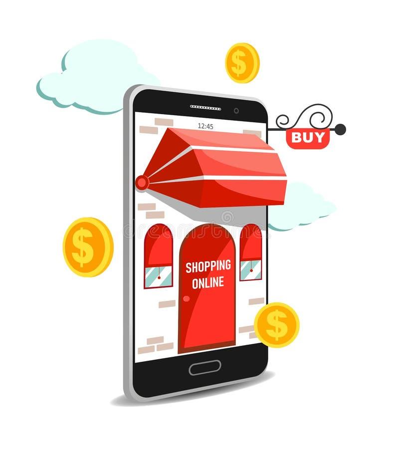 Vectorconcept die online op Website of Mobiele Toepassing winkelen Zaken en Digitale marketing royalty-vrije illustratie