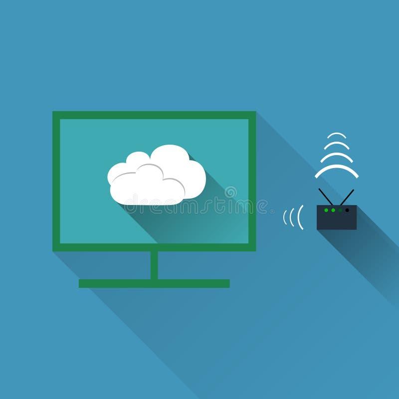 Vectorconcept draadloos wolkennetwerk stock illustratie