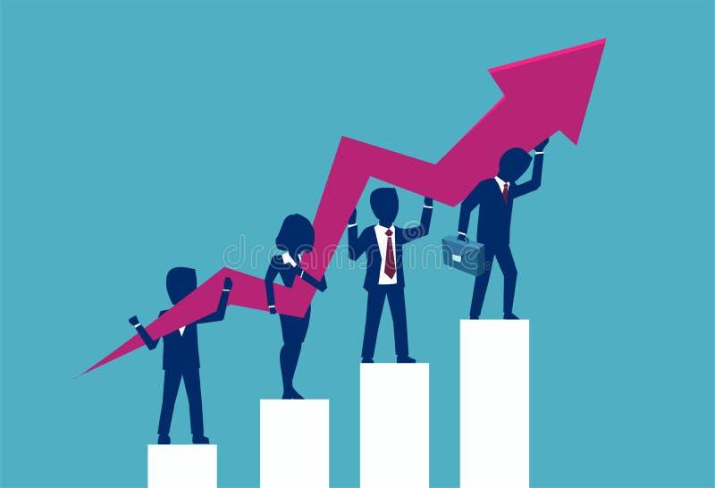 Vectorconcept een verandering van een bedrijfsrichting en groepswerksucces stock illustratie