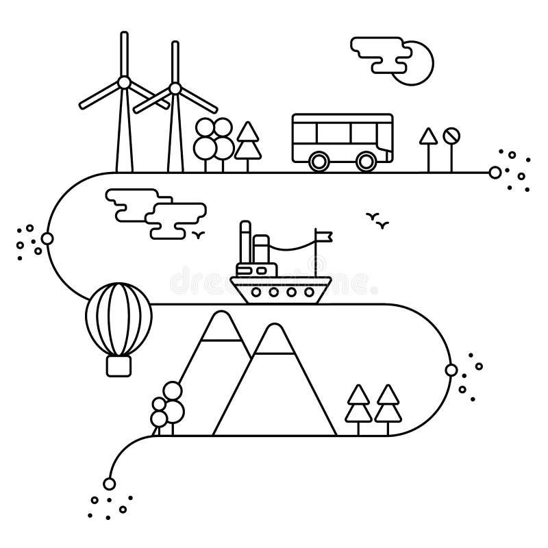 Vectorconcept en infographic ontwerpelementen in lineaire stijl, alternatieve energiegenerators, natuurbescherming en bescherming royalty-vrije illustratie