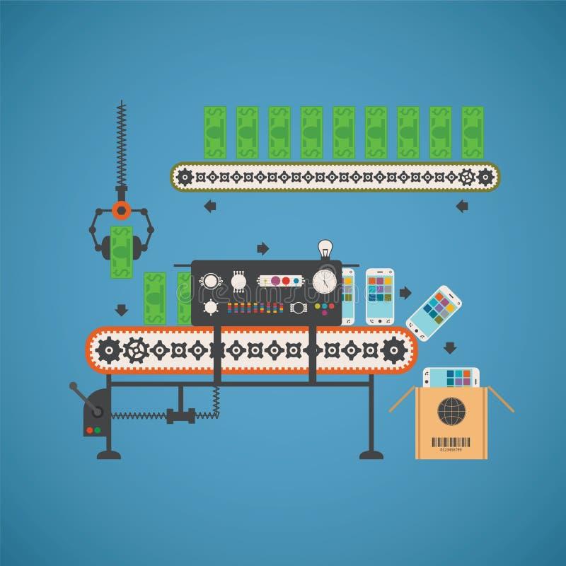 Vectorconcept fondseninvestering met smartphones en nota's over transportbandlijn royalty-vrije illustratie