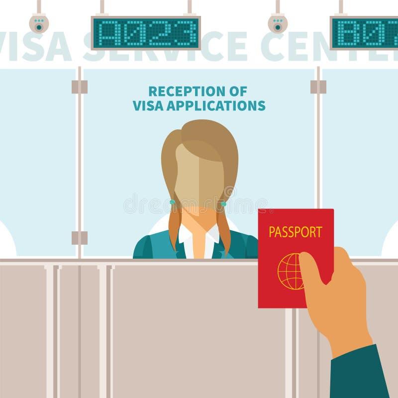 Vectorconcept het centrum van de visumdienst royalty-vrije illustratie
