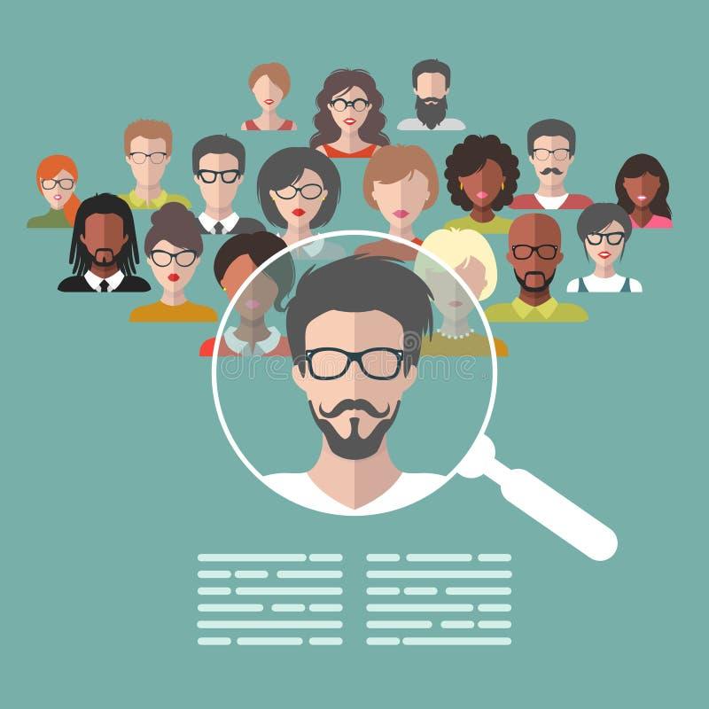 Vectorconcept personeelsbeheer, deskundigen onderzoek, hoofdjagersbaan met vergrootglas vector illustratie