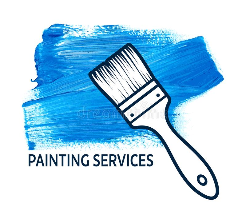 Vectorconcept voor de huis schilderende diensten stock illustratie