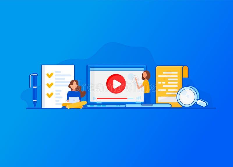 Vectorconcept voor Online Onderwijs vector illustratie